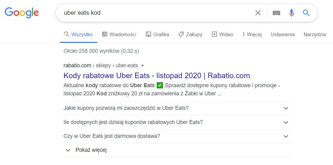 efekty pozycjonowania strony Rabatio.com